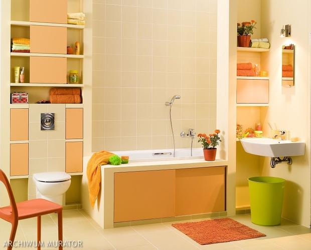 Pierwsza lepsza fotka łazienki, ta akurat pochodzi z http://muratordom.pl/lazienka/pomysly-i-aranzacje/lazienka-w-optymistycznych-barwach,121_9440.html